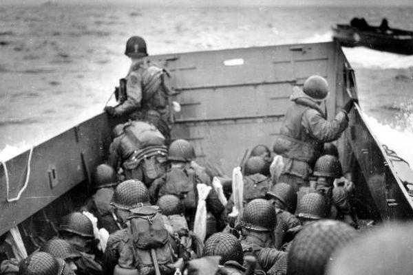 GI's de l'US Army en approche de la plage d'Omaha Beach, 6 juin 1944