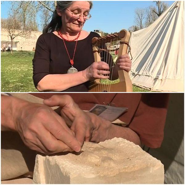 Une musicienne et un tailleur de pierre à découvrir lors des reconstitutions des Printemps de l'archéologie à Saint-Dizier