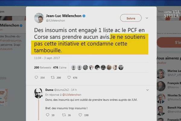 Les Insoumis de Corse partent aux territoriales avec le PCF sans l'aval de jean-Luc Mélanchon