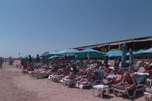 Une concession de plage sur la commune de Mauguio-Carnon dans l'Hérault - juillet 2021