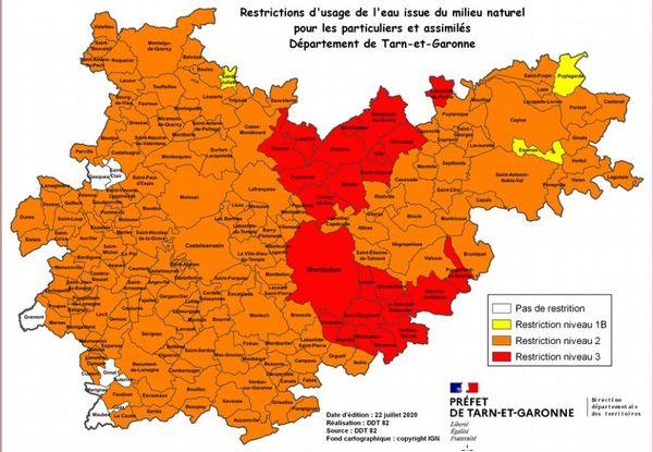 La carte des communes concernées par des restrictions d'eau pour les particuliers, en Tarn-et-Garonne, au 17 juillet 2020.
