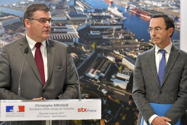 Le secrétaire d'État à l'industrie Christophe Sirugue visitait les chantiers de Saint-Nazaire en compagnie de Bruno Retailleau, président Les Républicains du conseil régional des Pays de la Loire.