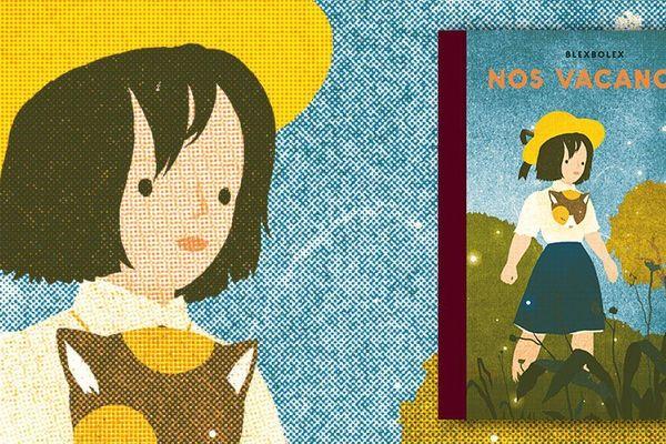 """Couverture du livre """"Nos vacances"""" (Albin Michel) de Blexbolex, sérigraphiste, affichiste, aux inspirations très après-guerre, où la couleur sait prendre la place de la """"ligne claire""""."""
