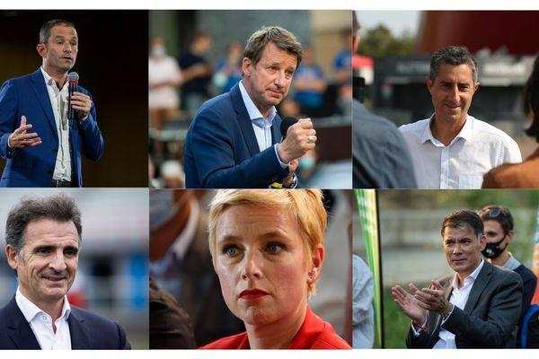 De gauche à droite et de haut en bas : Benoît Hamon, Yannick Jadot, François Ruffin, Éric Piolle, Clémentine Autain et Olivier Faure.