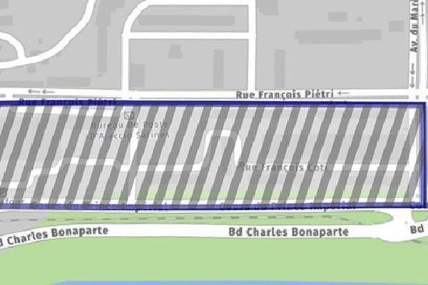 30/09/20. Carte du périmètre où le port du masque est obligatoire à Ajaccio (Corse-du-Sud).