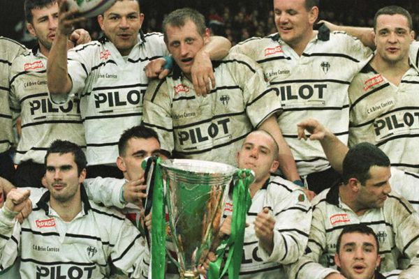 Le sourire des Brivistes vainqueur face à Leicester 28-9 en H CUP. 25 janvier 1997