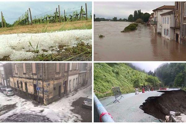 Dans les vignobles bordelais, dans les Landes, les vallées Béarnaises... les orages et les inondations entre mi-mai et mi-juin ont causé de très nombreux dégâts en Nouvelle-Aquitaine.