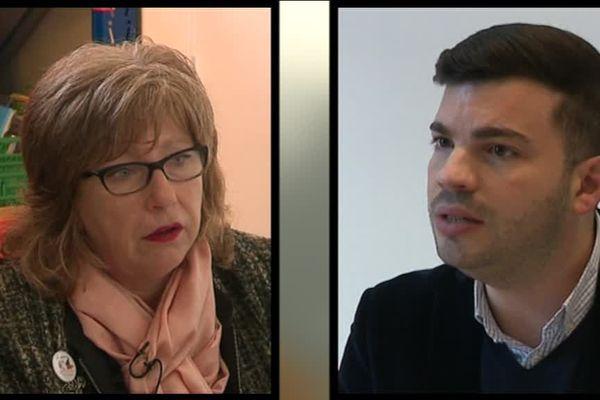 Anne Duflot-Allievi, présidente de la section d'Hayange du Secours Populaire et Fabien Engelmann, le maire RN de la commune Mosellane.