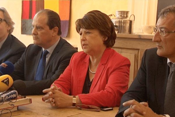 Gilles Pargneaux, secrétaire fédéral PS du Nord, Jean-Christophe Cambadélis, premier secrétaire du PS, Martine Aubry maire de Lille et François Lamy, ancien député de l'Essonne proche de Martine Aubry.