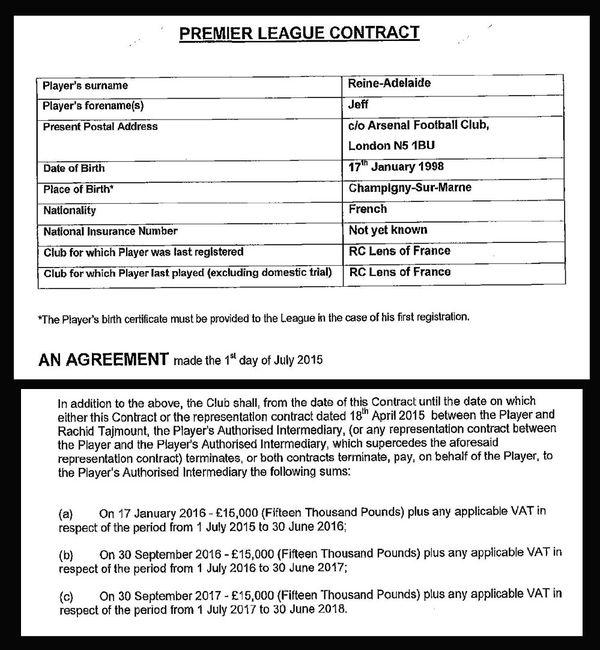 Dans le contrat de Jeff Reine-Adélaïde à Arsenal, le club prévoit de rémunérer l'agent Rachid Tajmout à compter des 18 ans du joueur.