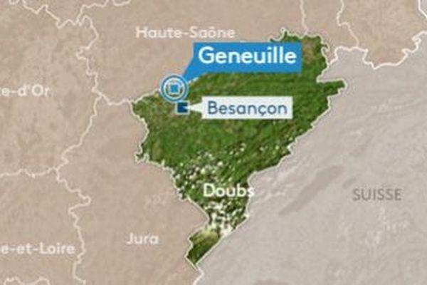 La commune de Geneuille, où un incendie a été déclaré ce mercredi 3 juillet.