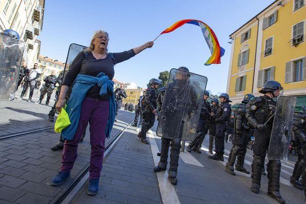 Le 23 mars 2019, lors de la manifestation des Gilets jaunes.