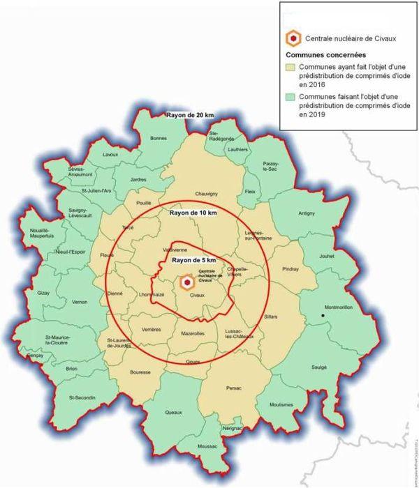 Communes concernées par la distribution des comprimés d'iode.