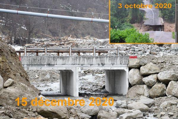 Ce pont est provisoire et il remplace le pont Maïssa, emporté par la crue du Boréon à Saint-Matin-Vésubie.