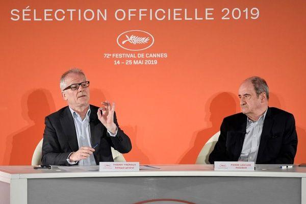 Thierry Frémaux et Pierre Lescure, pendant la conférence de presse.