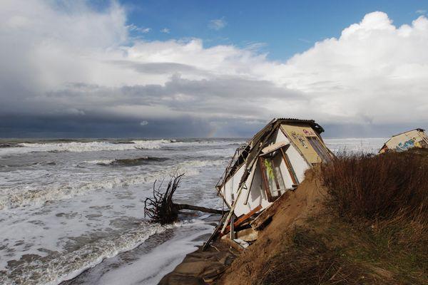 Plage de l'Amélie au sud de Soulac. Le 29 janvier 2014.