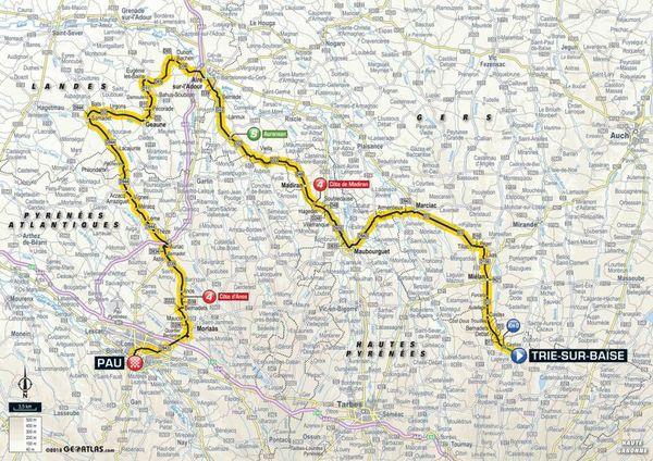 La carte de la 18e étape du Tour 2018