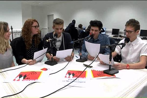 """enregistrement de l'émission """"Webmargot"""" au lycée Marguerite de Navarre à Alençon"""