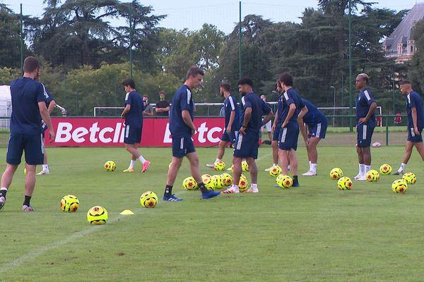 Les joueurs des Girondins à l'entraînement mercredi 19 août 2020 avant la rencontre face à Nantes vendredi 21 août à 19 heures