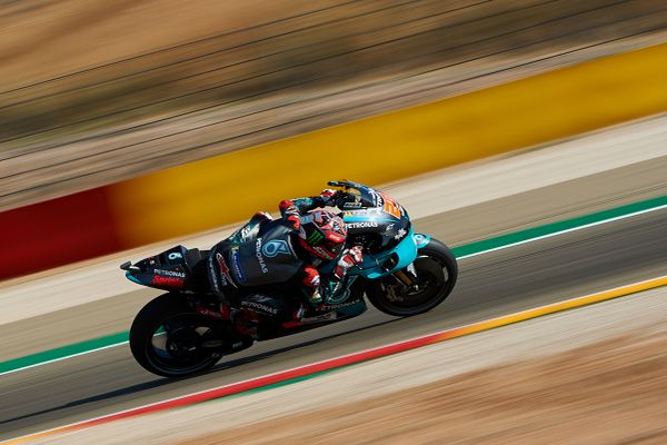 Fabio Quartararo pendant le Grand Prix d'Aragon à Alcaniz en Espagne. Le champion doit recevoir 30.000 euros de subvention municipale.