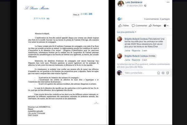 Lettre du premier ministre adressée à Loïc Dombreval