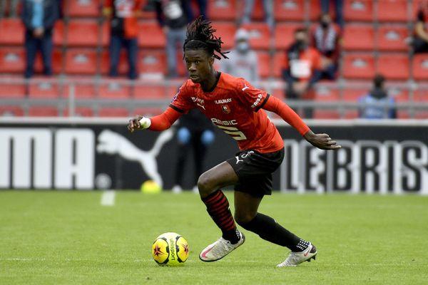 Eduardo Camavinga, pendant le match du Stade Rennais face à Montpellier le 29 août 2020 lors du championnat de France de football de ligue 1.