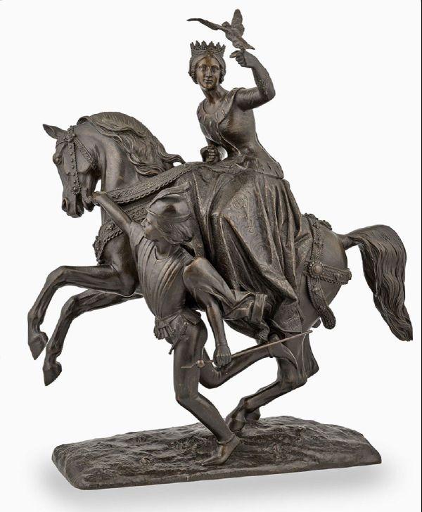 Marie de Bourgogne partant à la chasse au faucon - Photographie de Jean-Auguste Barré (1811-1896) -