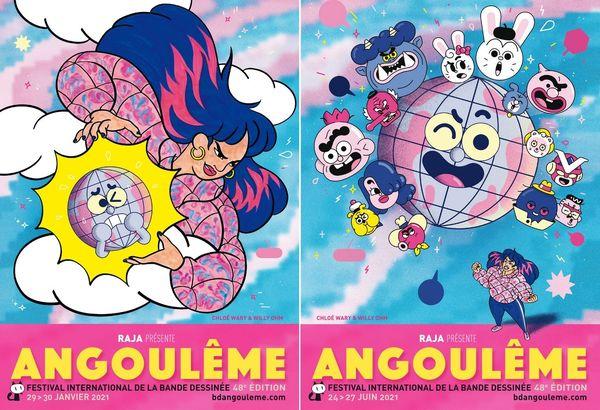 Deux affiches pour deux temps du festival international de la bande dessinée d'Angoulême - Edition 2021
