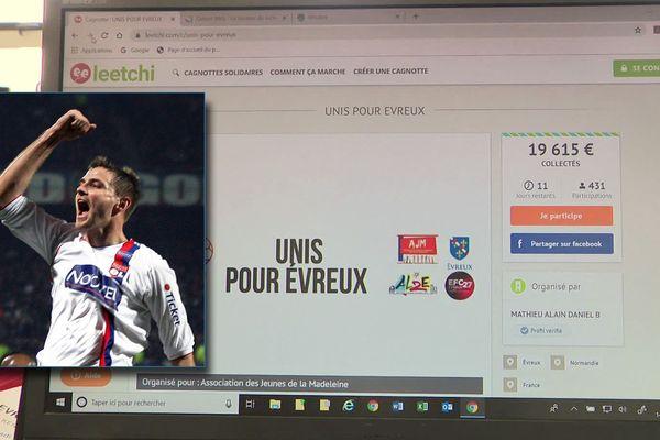 Mathieu Bodmer et la page de la cagnotte en ligne pour aider les soignants d'Evreux