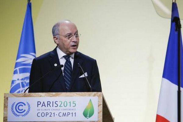 Le ministre des Affaires étrangères français et président de la COP21, Laurent Fabius, le 30 novembre 2015.