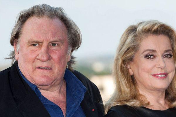 """Catherine Deneuve et Gérard Depardieu au Festival du Film Francophone d'Angoulême pour présenter leur film """"Bonne Pomme""""."""