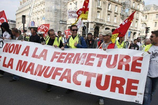 Les salariés de la Seita de Carquefou lors d'une manifestation à Paris le 22  septembre 2014