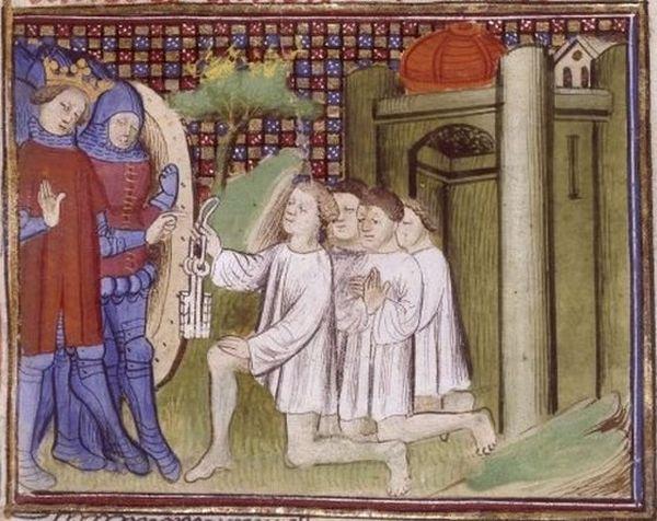 Les bourgeois de Calais remettent les clés de la ville à Edouard III.