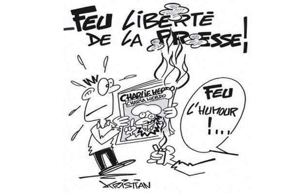 Dessin de Kristian en hommage aux victimes de l'attentat de Charlie Hebdo