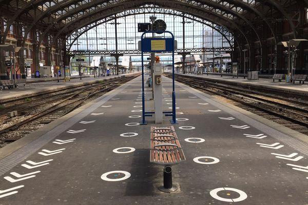 Le marquage au sol pour inciter les voyageurs à respecter les distanciations sociales mis en place en gare de Lille-Flandres