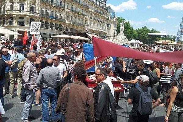 Montpellier - 500 intermittents réunis place de la Comédie pour manifester contre le projet d'accord Unedic - 16 juin 2014.