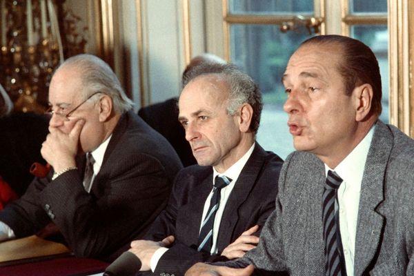 15 décembre 1987 : Marc Bécam aux côtés de Jacques Chirac.