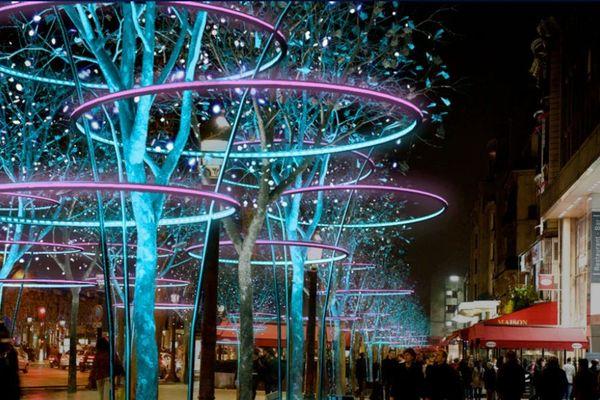 Illuminations des Champs-Elysées 2011 : l'année des trois anneaux dans les arbres.