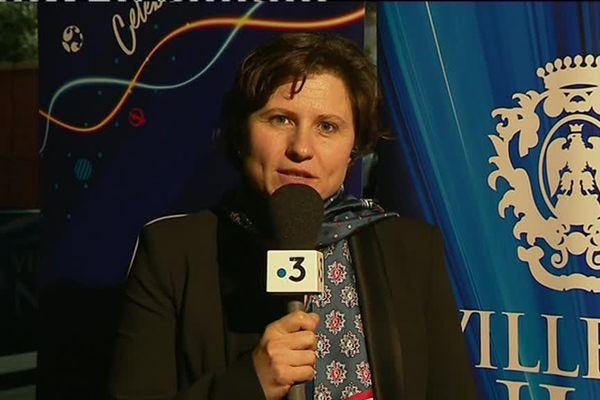 Roxana Maracineanu, ministre des sports, à Nice le 27 février 2019, à 100 jours du lancement de la Coupe du monde féminine de football.