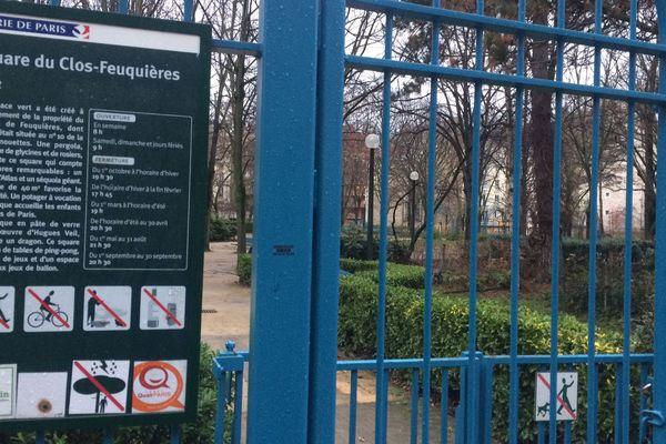 Le square du Clos-Feuquières, dans le 15ème arrondissement, fermé le 27 décembre 2017, en raison de forts vents.