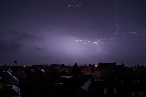 Orage sur Pont l'Abbé lors de la tempête Carmen
