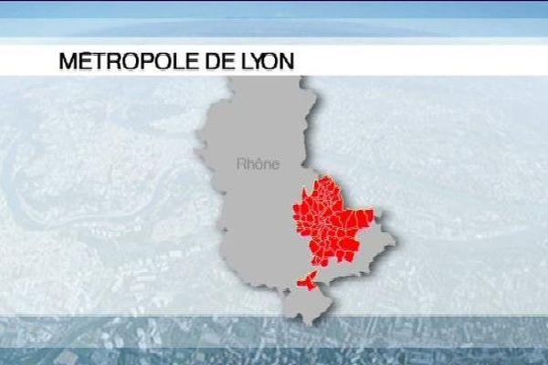 La carte au 1er janvier 2015 avec la Métropole en rouge