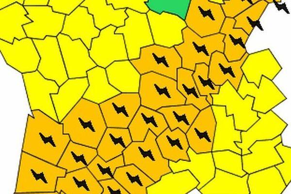 L'alerte orange concerne une grande diagonale du sud ouest à l'Alsace.