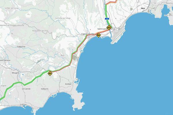 La circulation est difficile sur l'A8 entre Antibes et Nice ce jeudi soir.