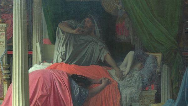 Détail du tableau figurant le médecin d'Antiochus et son père à son chevet.