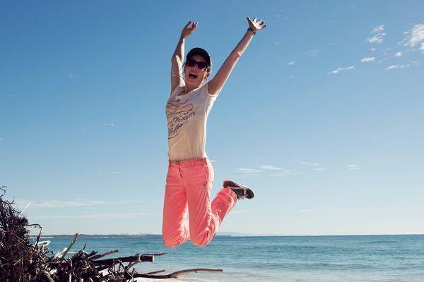 Sur la plage de Stradbroke en Australie