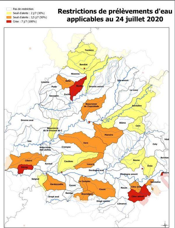 La situation au 24 juillet établie par la Préfecture laisse apparaître plusieurs situations de crise