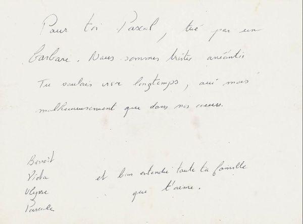 Le message de la famille de Pascal Verdenne collecté par les archives municipales de Strasbourg
