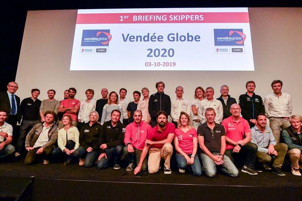 Photo de groupe des skippers ayant déposé un dossier pour le Vendée Globe 2020
