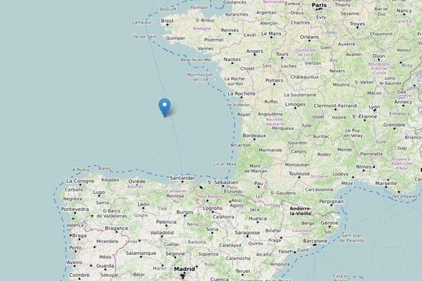 La position du voilier Loulette dans le Golfe de Gascogne quand il a demandé assistance.